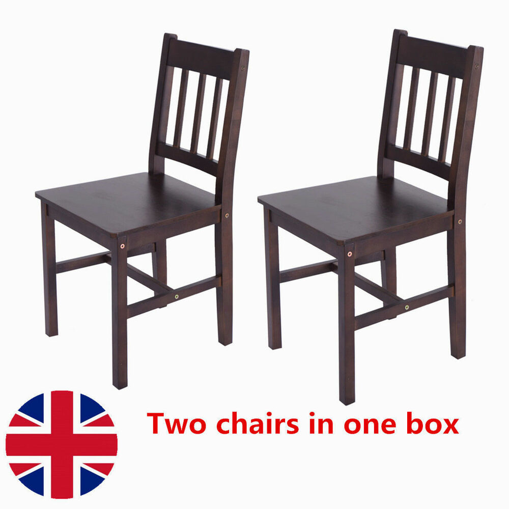 2 pcs solid pine wooden dining chairs set kitchen home for White kitchen dining chairs