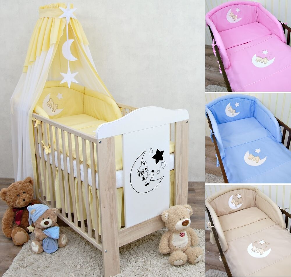 babybett kinderbett gitterbett mond teddy bettw sche bettset komplett ebay. Black Bedroom Furniture Sets. Home Design Ideas