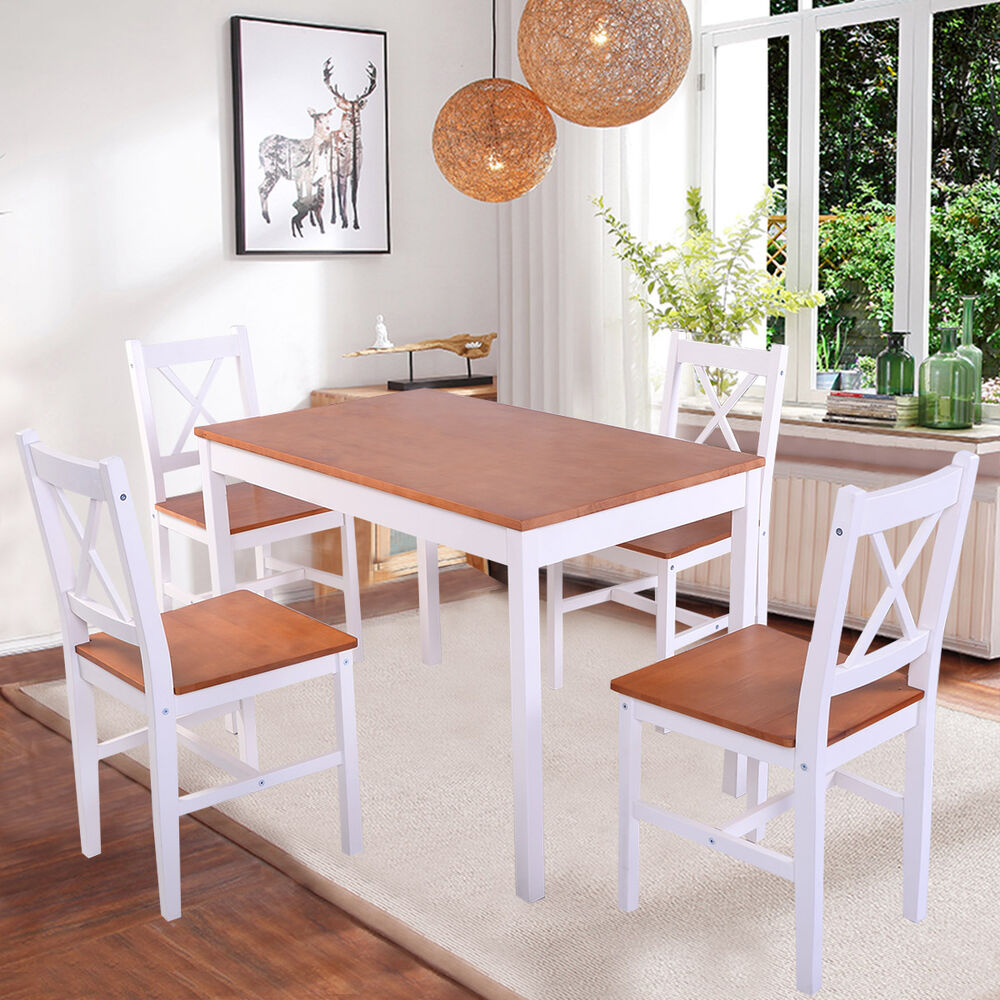 Solid Wooden Pine Dining Table And 4 Chairs Set Kitchen Dining Home Furniture