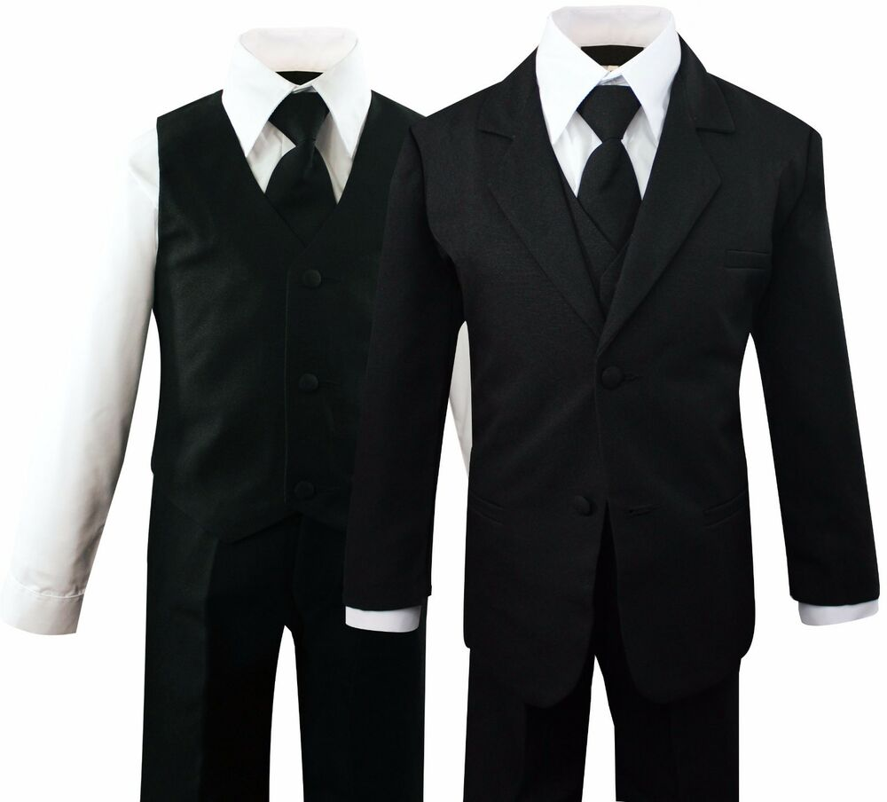 This dapper blue suit from Mogen is a great choice for boys that want to adopt a formal look. The five piece suit includes a suit jacket, white shirt, vest, clip on tie and dress pants.