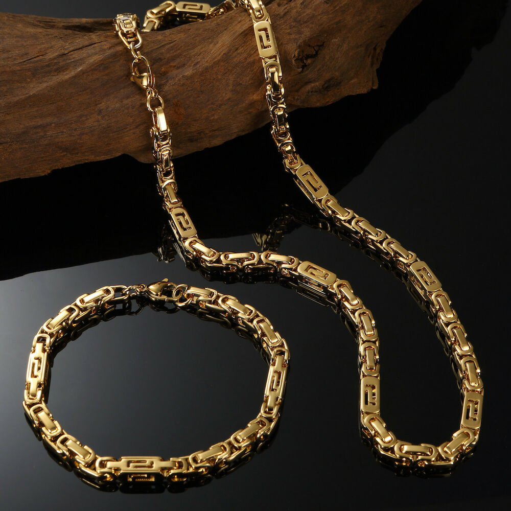 18k yellow gold filled mens byzantine chain necklaces. Black Bedroom Furniture Sets. Home Design Ideas