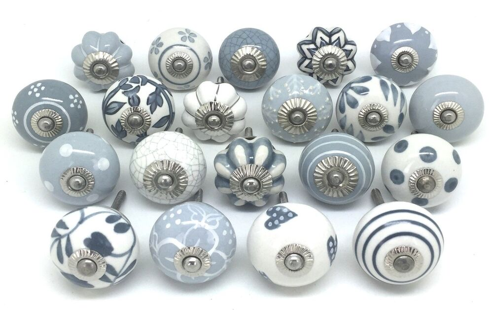 14 Mixed Grey And White Hand Painted Ceramic Pumpkin Knobs