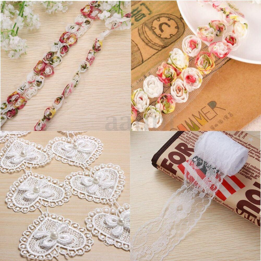 Vintage embroidered lace edge trim ribbon wedding applique for Crafts that sell on ebay