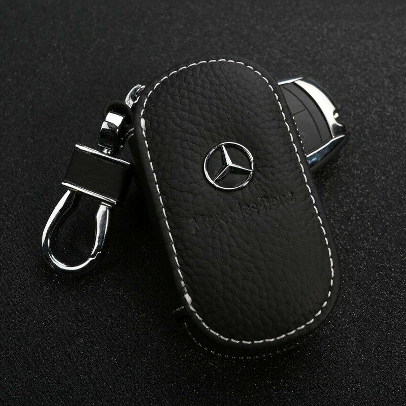 genuine leather cowhide car key holder keychain ring case