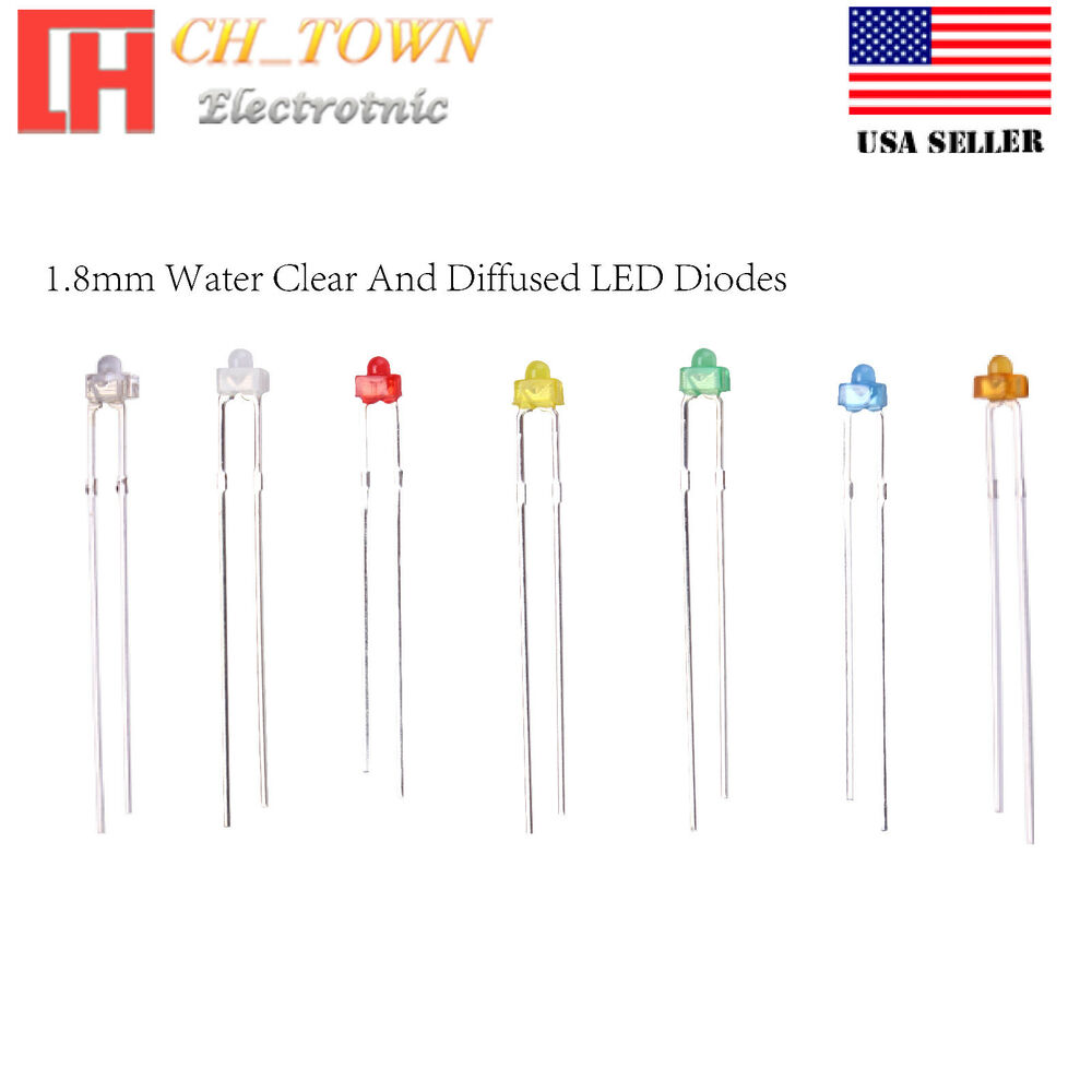 8mm Orange Led: 1.8mm Water Clear Diffused Round Top Warm White Red Blue