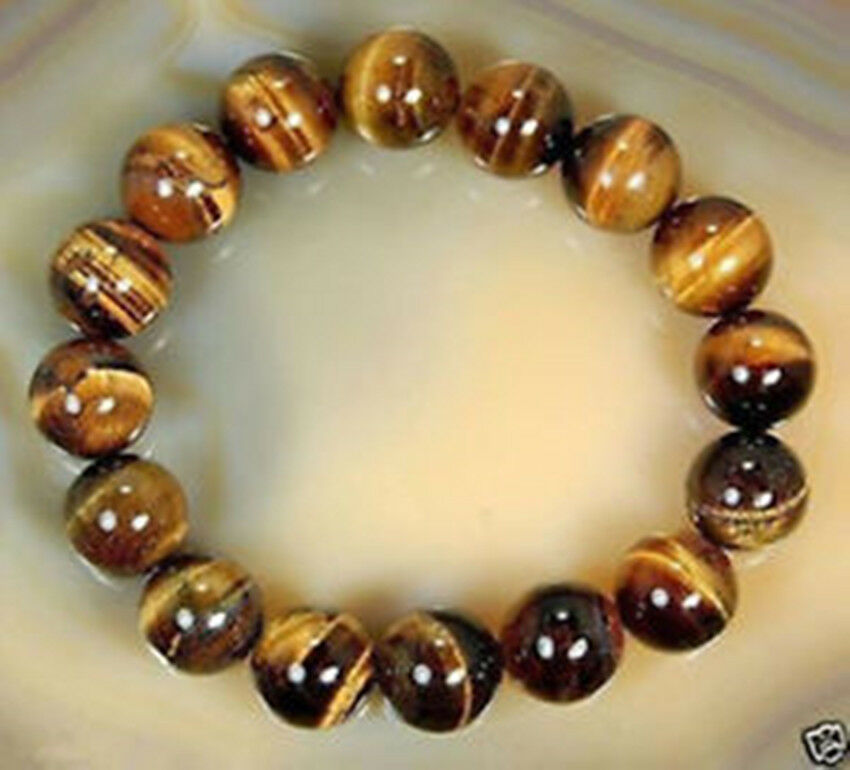 Natural Tiger eye Stone 10mm Round Beads Stretchy women ...