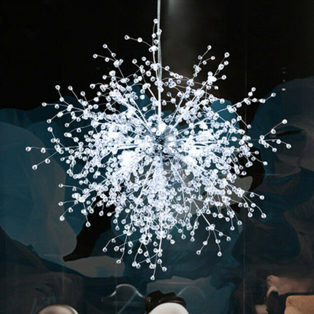 New Led Crystal Hanging Lamp Modern Restaurant Living Room Branch Ceiling Light Ebay