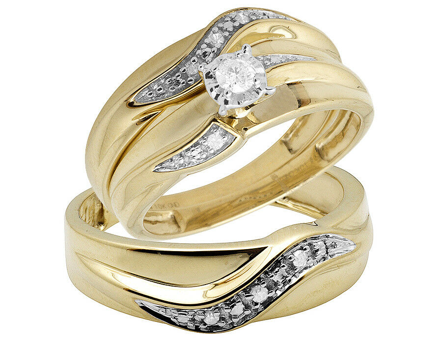 10K Yellow Gold Real Diamond Solitaire Engagement Bridal Ring Trio Set 0 25ct