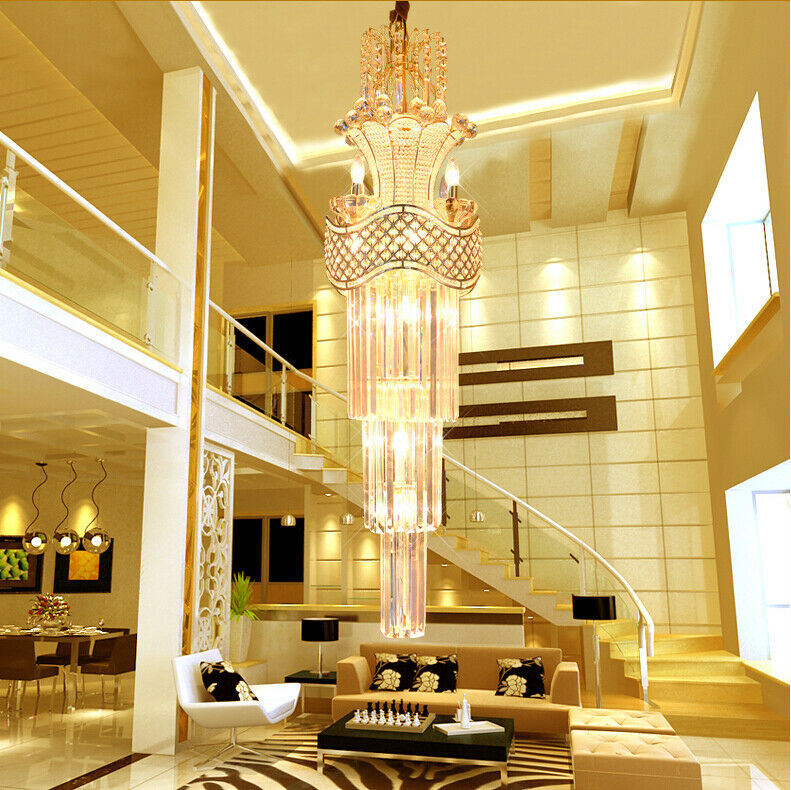 Lamp Ceiling To Floor: Modern Penthouse Floor Crystal Ceiling Lamps Chandeliers