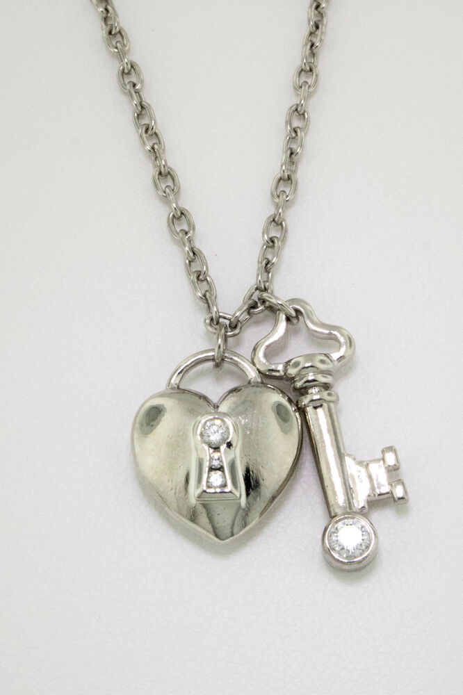 Tiffany Amp Co Diamond Heart And Key Platinum Pendant And
