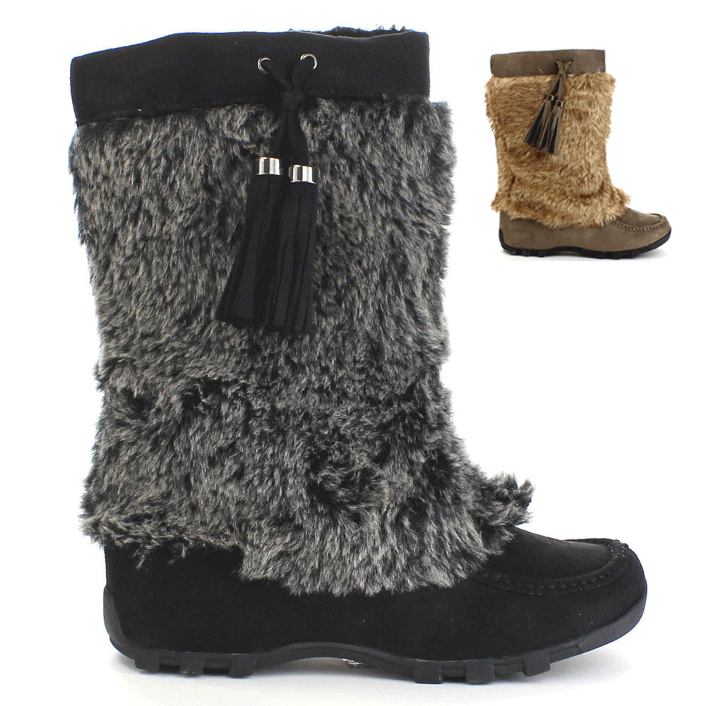 Womens Moccasin Mukluk Flat Boots Faux Fur Suede Tassel ...