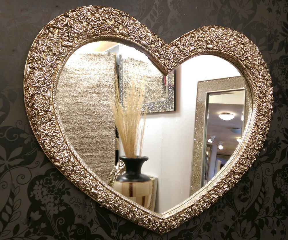 Large Heart Wall Mirror Ornate Champagne Silver French