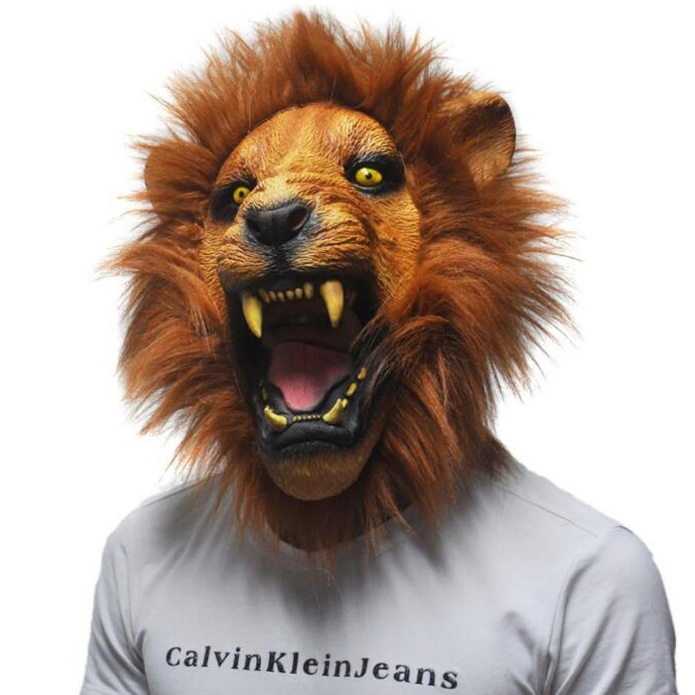 New Halloween Props Adult Angry Lion Head Masks Full Latex ...