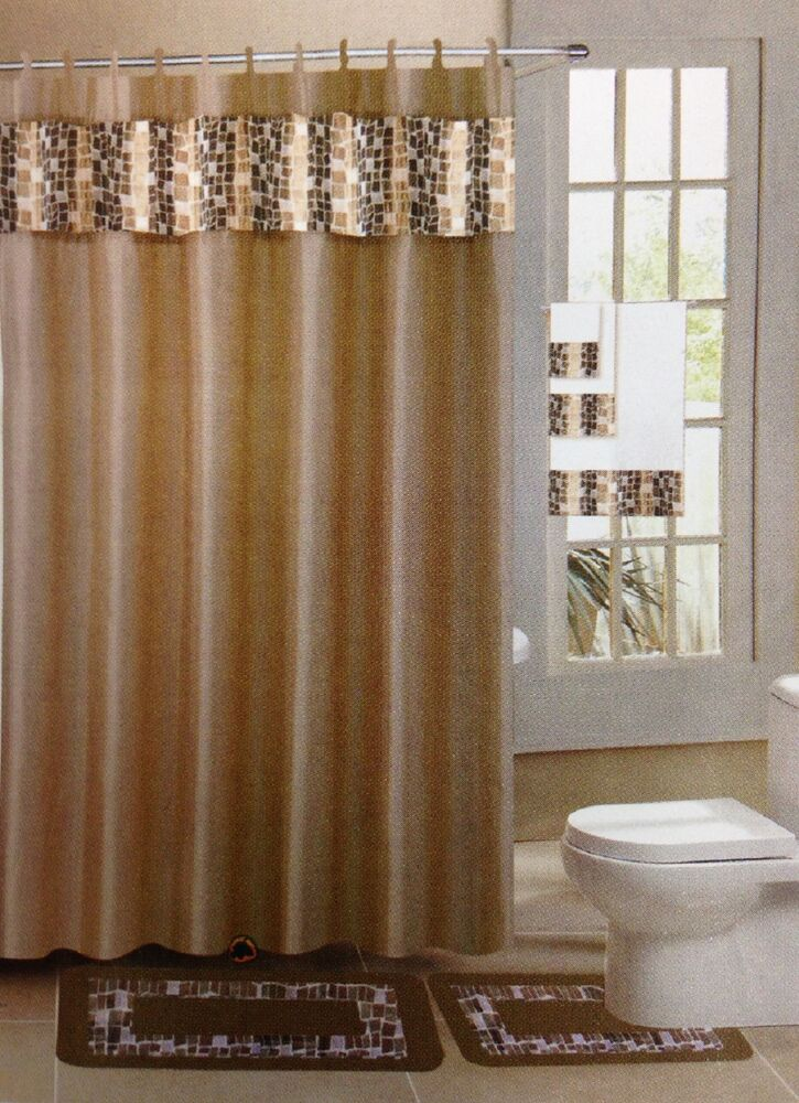 18 pc bath rug set taupe tile design bathroom shower curtain rings towels ebay. Black Bedroom Furniture Sets. Home Design Ideas