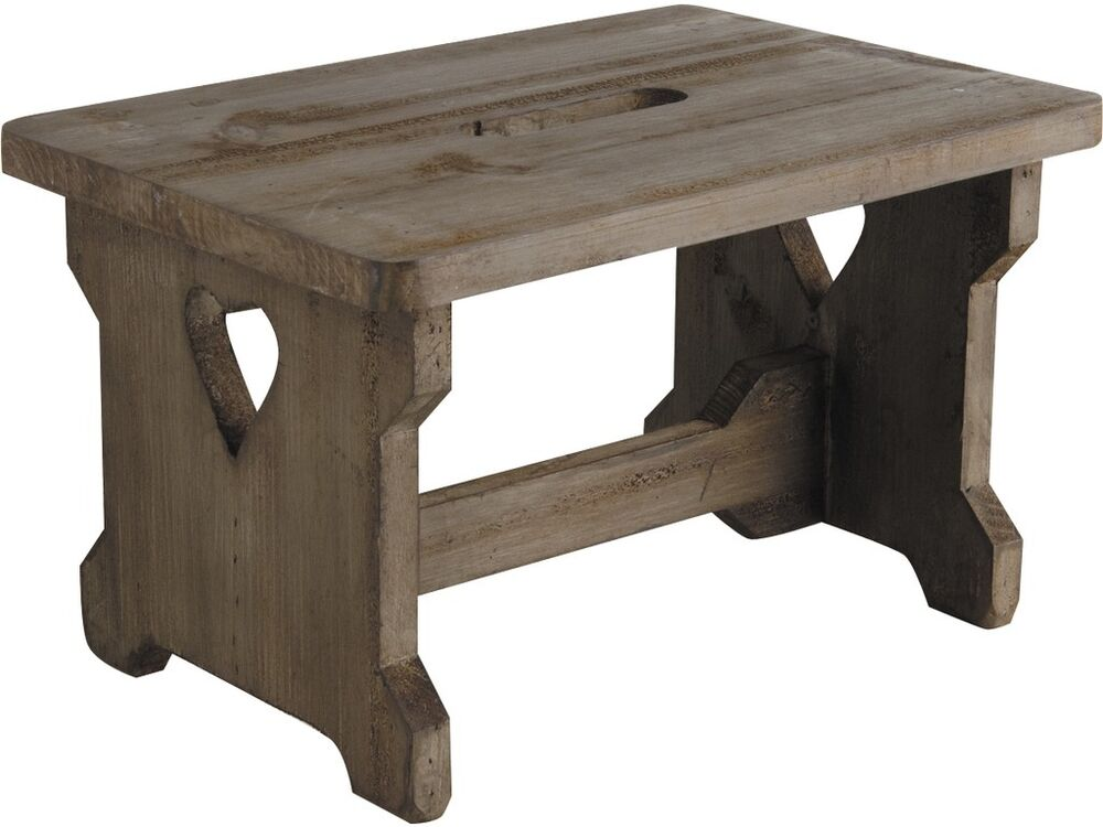Small Shabby Wooden Step Stool Vintage Style Heart Detail