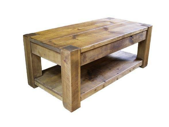 any size made solid wood coffee console table shelf side rustic plank pine ebay. Black Bedroom Furniture Sets. Home Design Ideas
