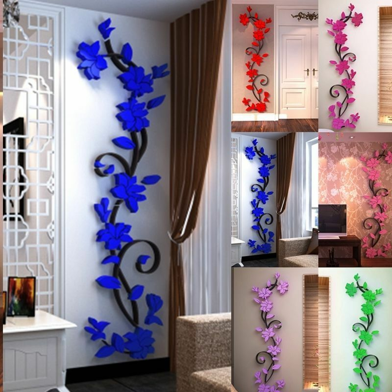 3d flower removable vinyl quote diy wall sticker decal mural home room decor ebay. Black Bedroom Furniture Sets. Home Design Ideas