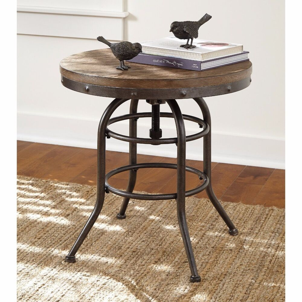 vintage round rustic industrial end table adjustable top