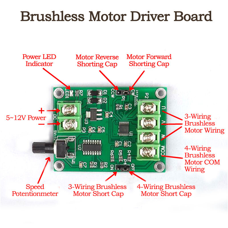 Dc 5v 12v 3 4 Wire Mini Dc Brushless Motor Driver Module
