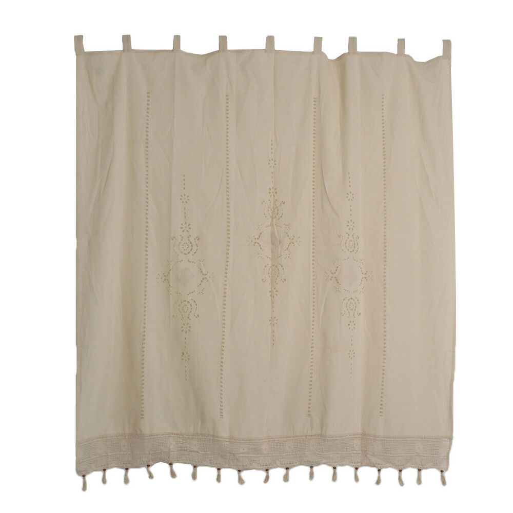Cotton Canvas Black Eyelet Lined Curtain: Country Lace Crochet Window Curtain Blackout Drape Divider