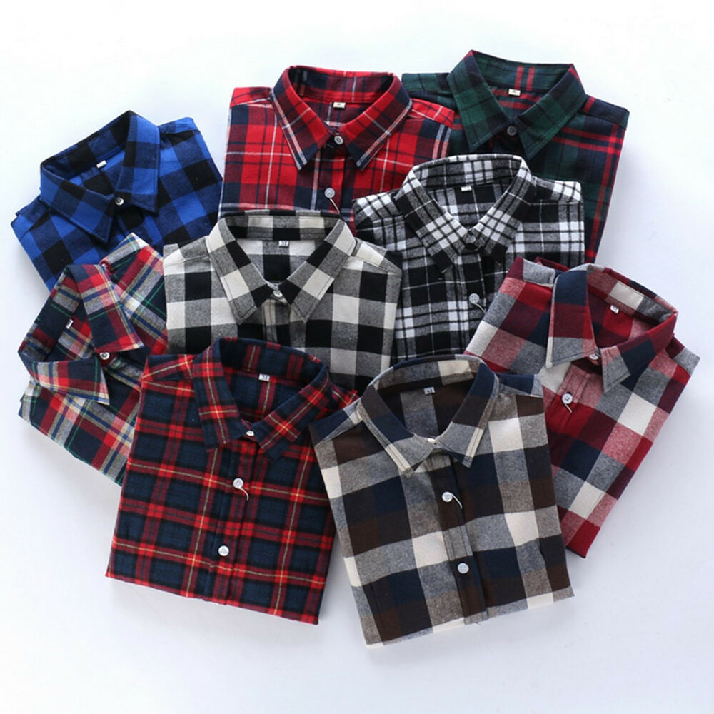Ladies women plaid check shirt long sleeve flannel button for Plaid button down shirts for women