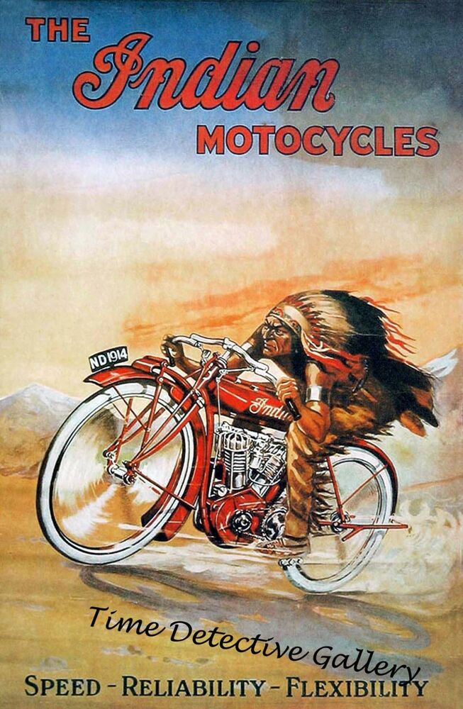 Rustic 1953 Roadmaster Chief Indian Motorcycle TIN SIGN