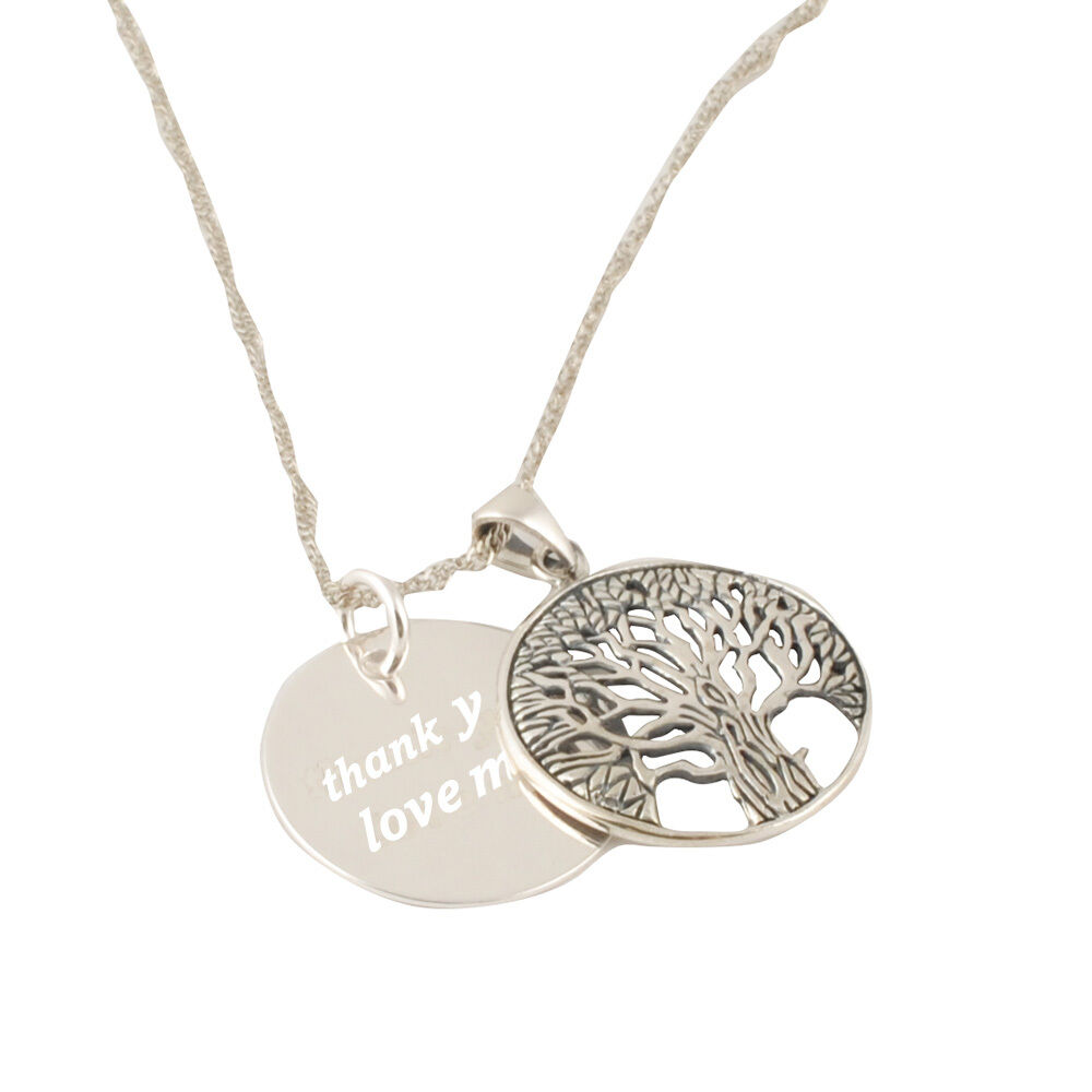 personalised engraved necklace pendant fashion family tree