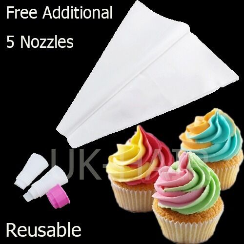 Cupcake Double Icing Bag With 5 Nozzles Cake Decorating ...