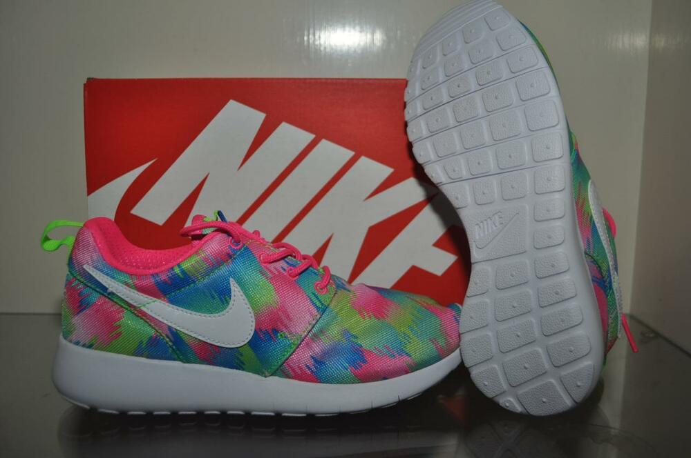 fb7f9a395361 Details about Nike Roshe One Print GS Girls Running Shoes 677784 607  Pink Green Blue White NIB