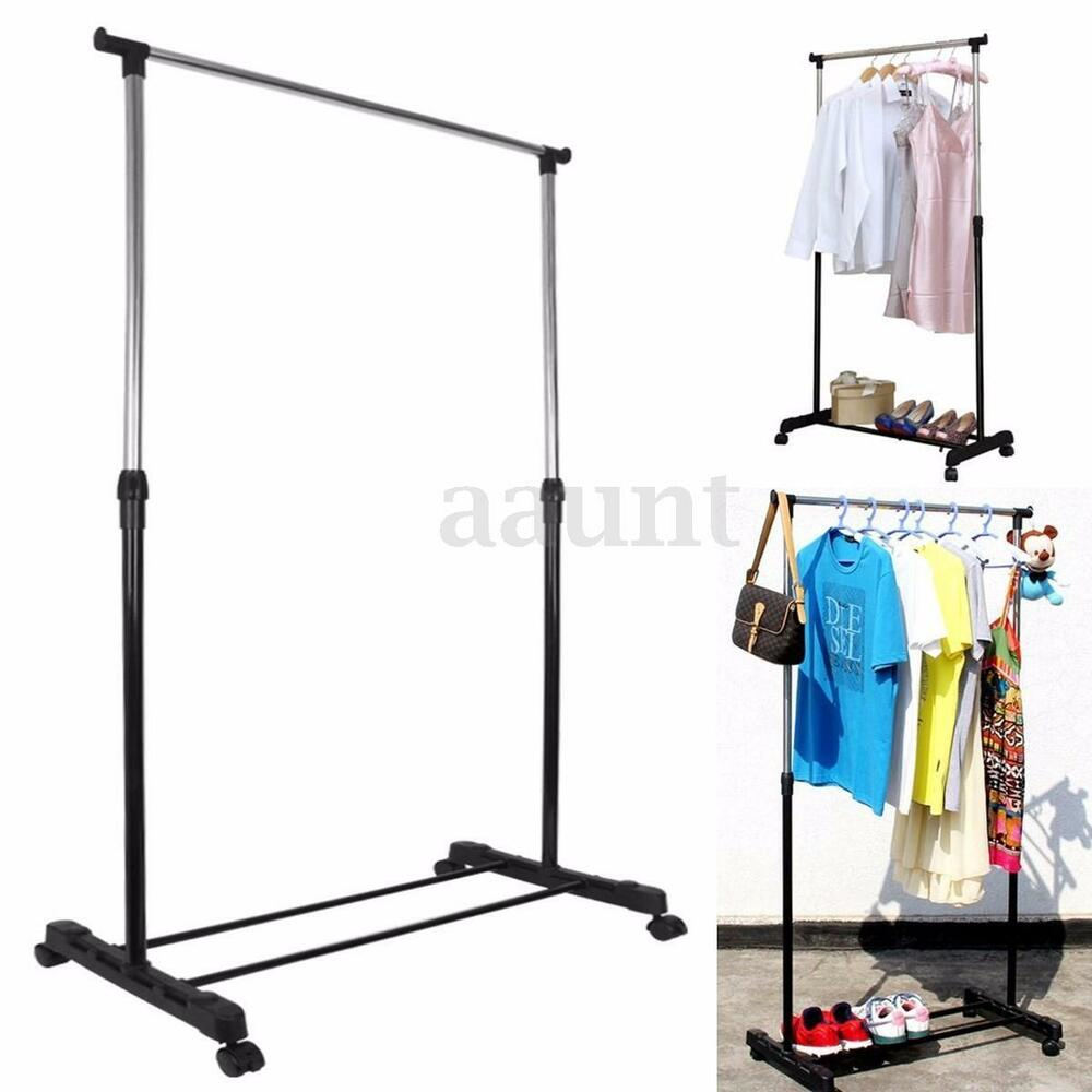 heavy duty adjustable portable rolling wheel clothes garment rack hanging rail ebay. Black Bedroom Furniture Sets. Home Design Ideas