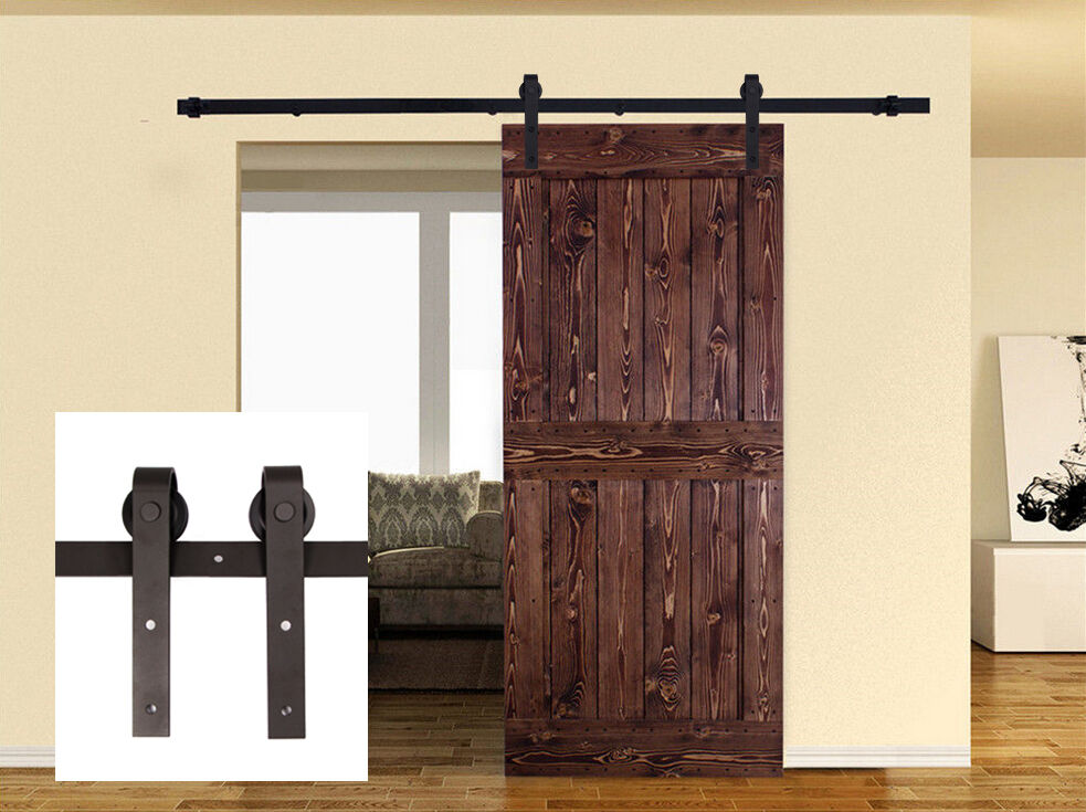 8ft Carbon Steel Sliding Barn Door Hardware Kit Interior Rustic Track Black Ebay