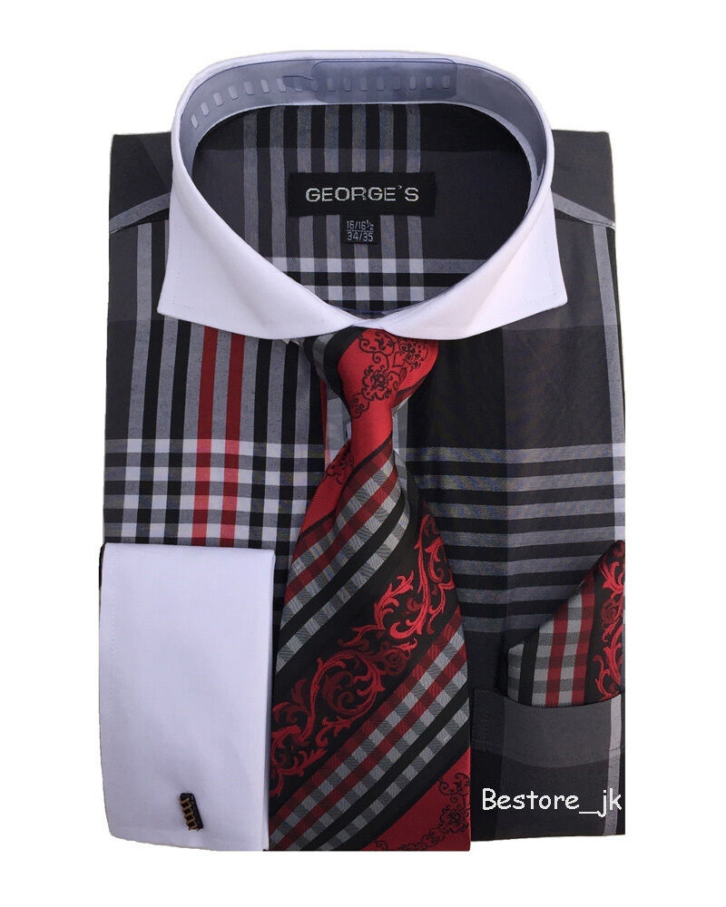 Men 39 s french cuff plaid checks dress shirt w tie hanky for Shirt and tie for men