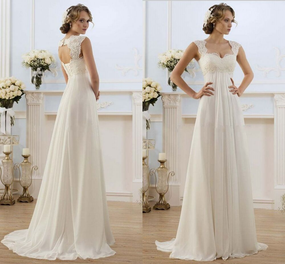 New White/Ivory Wedding Dress Bridal Gown Stock Size:6 8