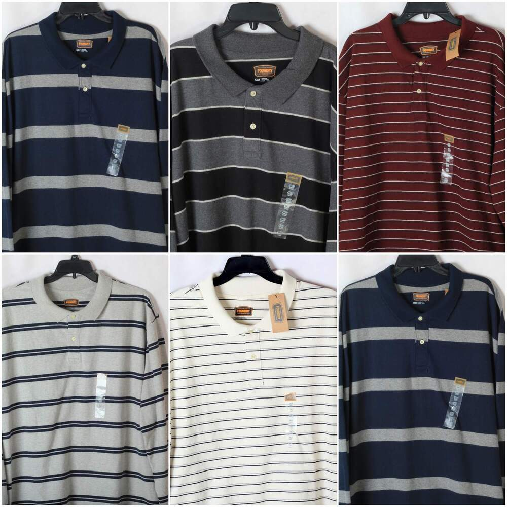 New Foundry Mens Big And Tall Striped Polo Shirts Long