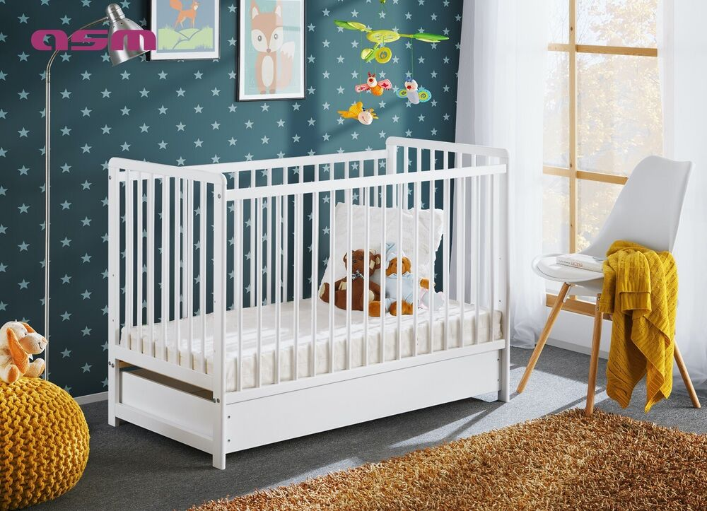 babybett kinderbett gitterbett beistellbett matratze und schublade cypi 120x60 ebay. Black Bedroom Furniture Sets. Home Design Ideas