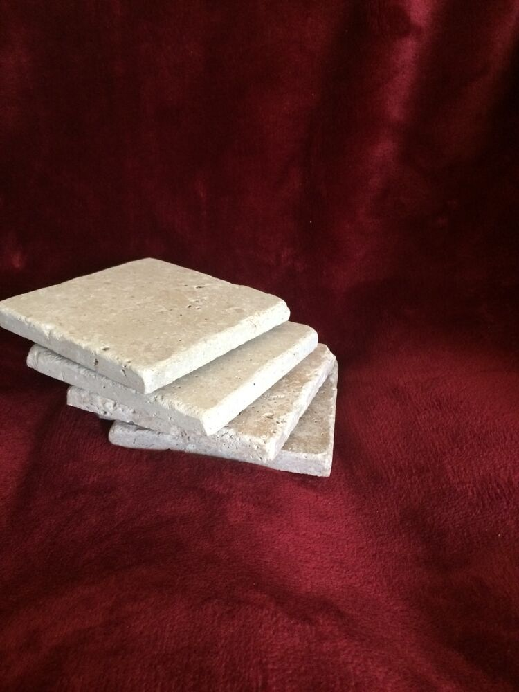 Four 4 natural stone absorbent tumbled travertine coasters ebay - Stone absorbent coasters ...