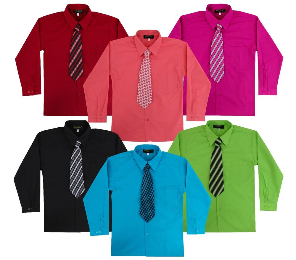 Kids Toddlers Boys Long Sleeve Dress Shirt With Tie Set Size 2t To