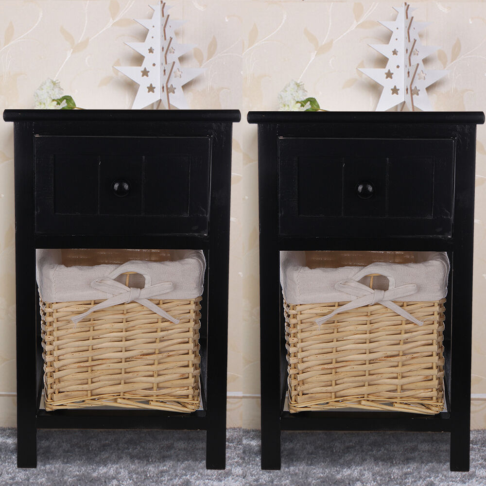 pair of black shabby chic bedside unit tables drawers cabinet wicker storage ebay. Black Bedroom Furniture Sets. Home Design Ideas