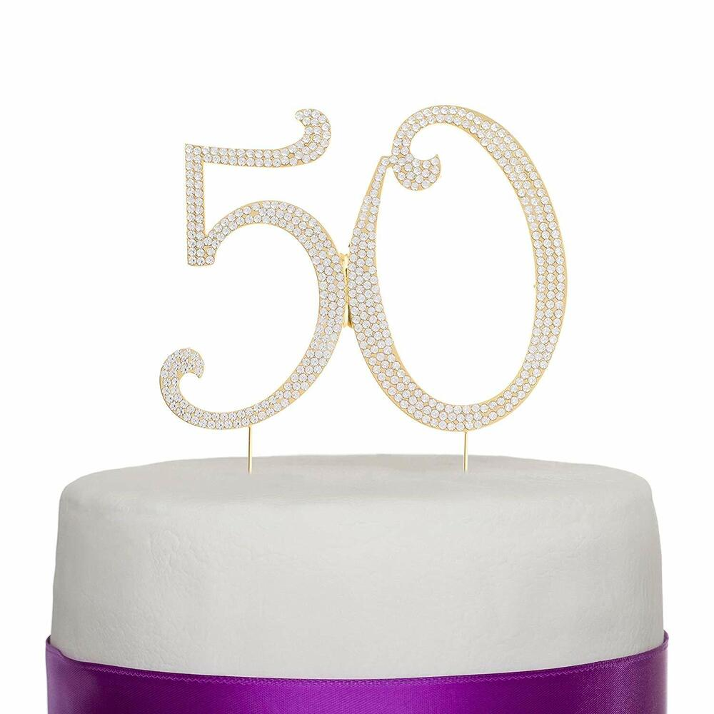 wedding cake toppers with rhinestones 50 gold rhinestone cake topper fifty 50th birthday 26640