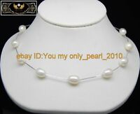"""MP"""" Natural 8-9mm AAA+white pearl necklaces 925S chain"""