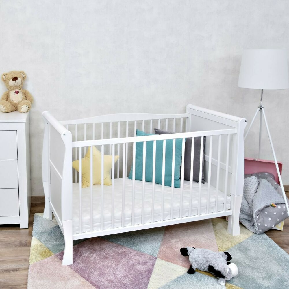 babybett kinderbett juniorbett umbaubar wei massivholz 140x70 neu ebay. Black Bedroom Furniture Sets. Home Design Ideas