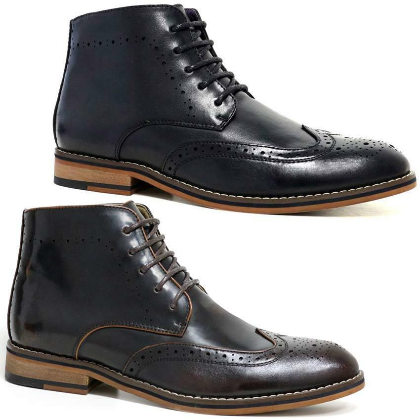mens voet leather boots new smart formal brogue combat