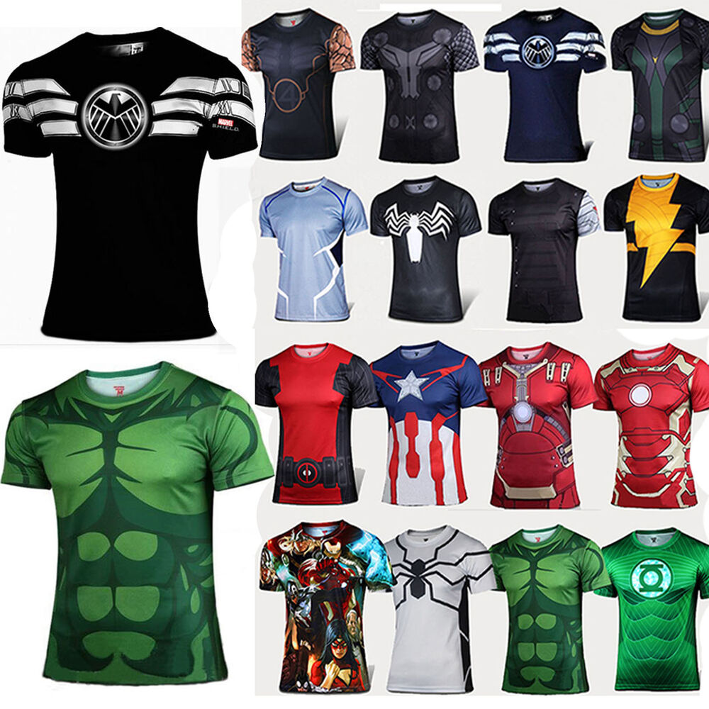 Superhero t shirts compression marvel superman batman mens Boys superhero t shirts