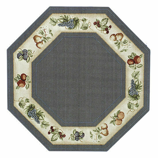 Blue Kitchen Rug: 5' Octagon Kitchen Fruits Lite Blue Beige Area Rug