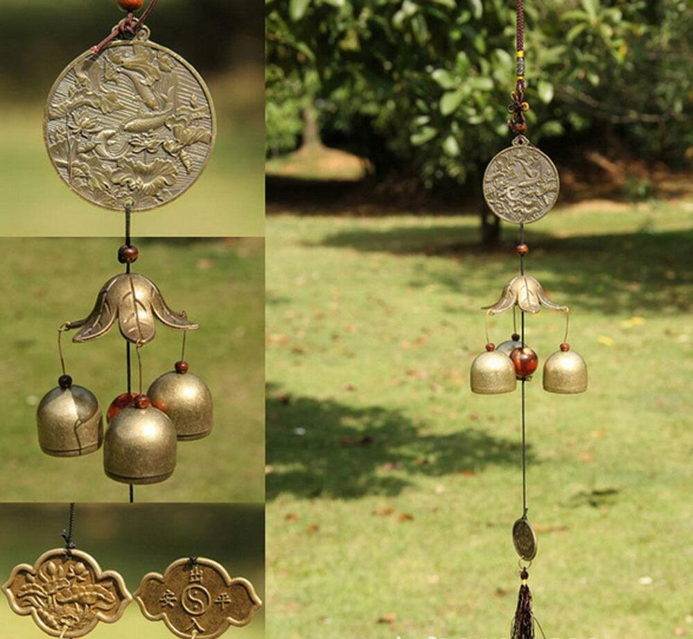 Fish pond brass big bells feng shui home garden hanging for Outdoor hanging ornaments