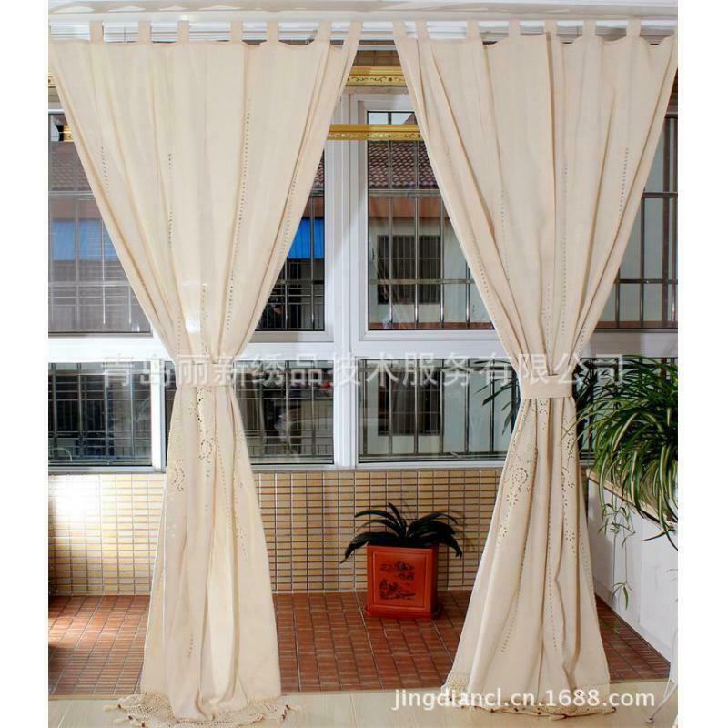 sch n landhaus spitze fenstervorhang vorh nge voile schlaufenschal drapieren ebay. Black Bedroom Furniture Sets. Home Design Ideas