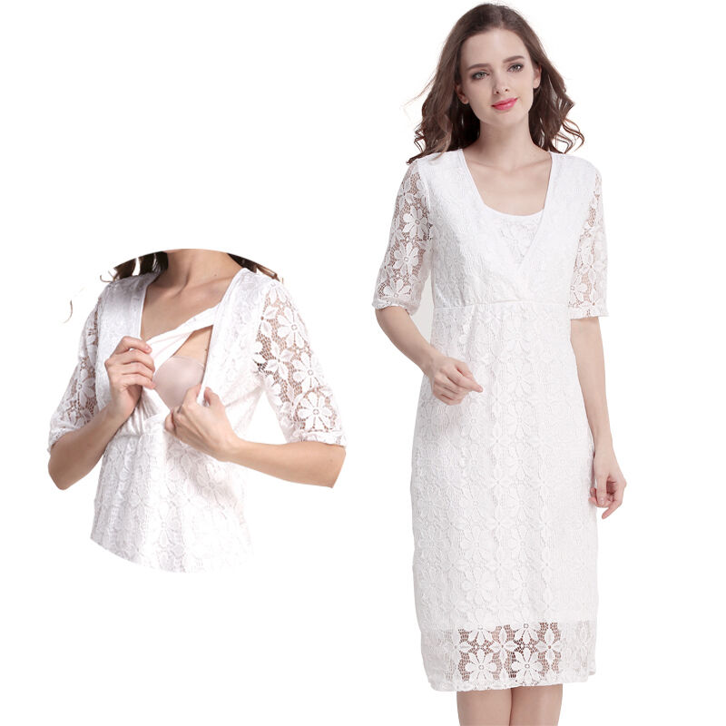 81e2c4f55535 Details about Lace Maternity Clothes Nursing Dress Breastfeeding Dresses  For Pregnant Women