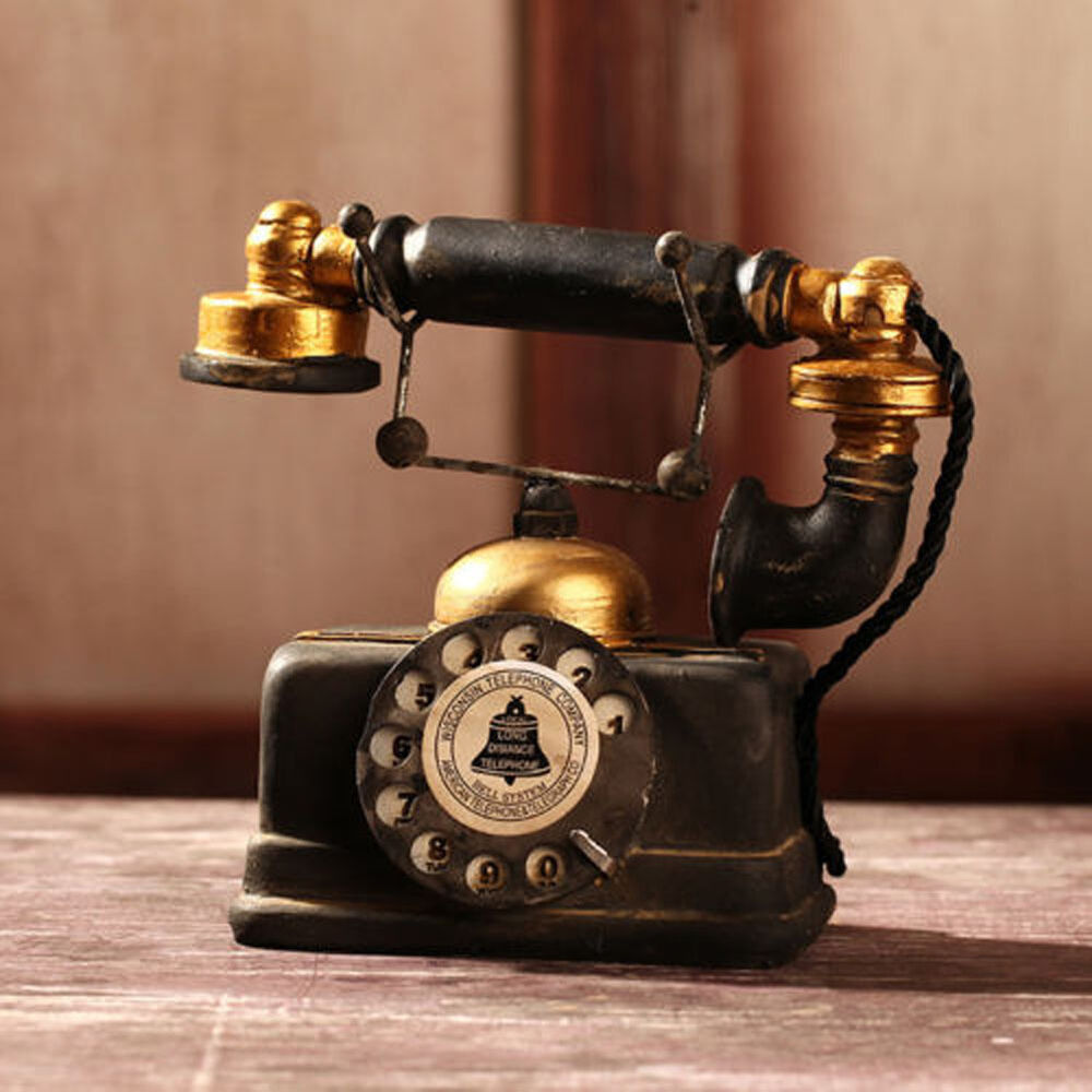 vintage rotary telephone statue antique shabby chic old phone figurine decor t ebay. Black Bedroom Furniture Sets. Home Design Ideas
