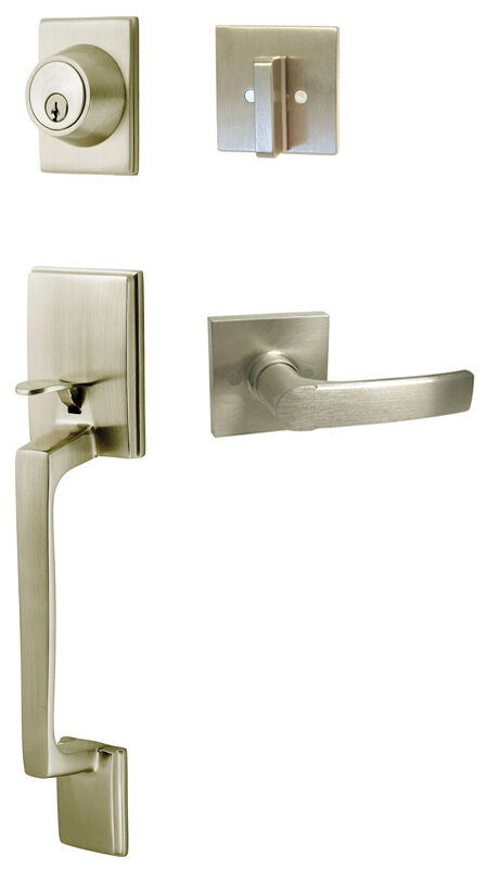 Satin Nickel Front Entry Lock Door Lever Handleset With