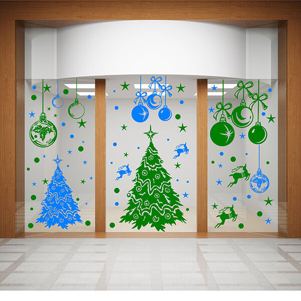 christmas wall stickers xmas shop window stickers xmas tree with owls and elephant removable vinyl wall sticker